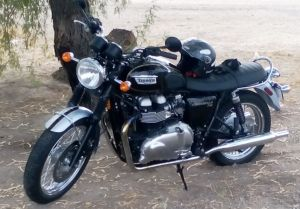 Triumph Bonneville T100 Taking a Break in Gila Bend, Arizona